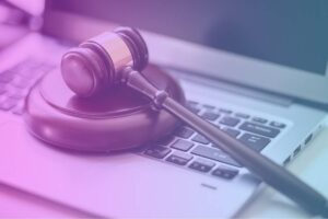 justice gavel on laptop